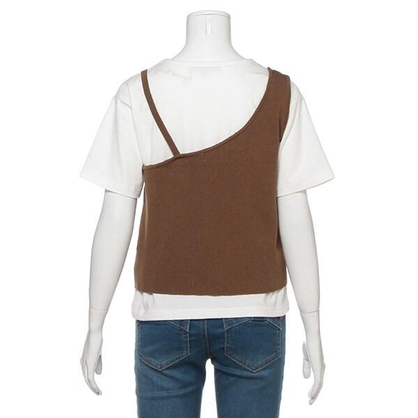 ワンショルダーニットキャミソール×Tシャツセット