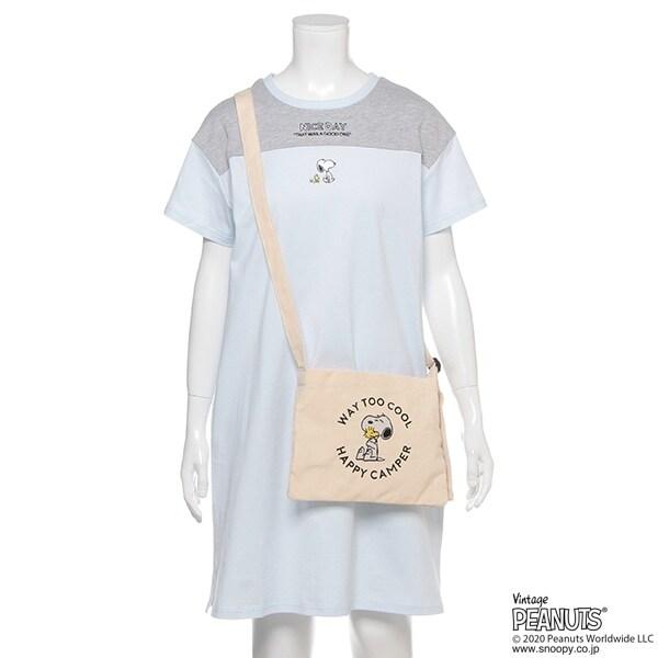 【PEANUTSコラボ】 オーガビッツ Tシャツワンピース×サコッシュセット