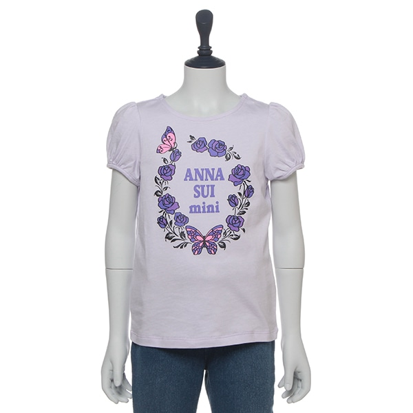 蝶×花ロゴプリントパフスリーブTシャツ