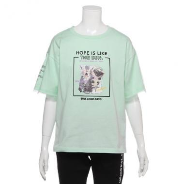 袖チュールネコプリントTシャツ
