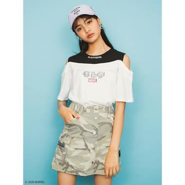 【MARVEL】 ボックスロゴレイヤード風Tシャツ