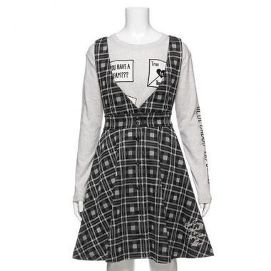 【50%OFF】【ニコ☆プチ掲載】ニットチェックジャンパースカート