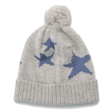 【30%OFF】ポンポンつきオーガニックコットン 星柄ニット帽