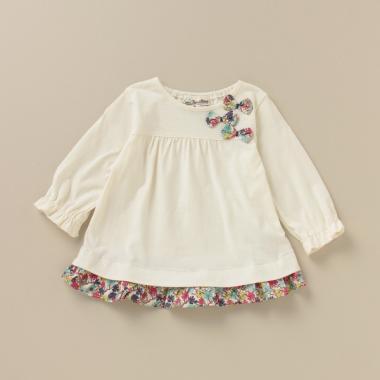 UVケア 小花柄裾フリルリボンTシャツ