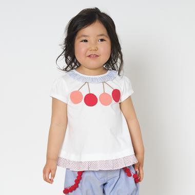 裾フリルさくらんぼTシャツ