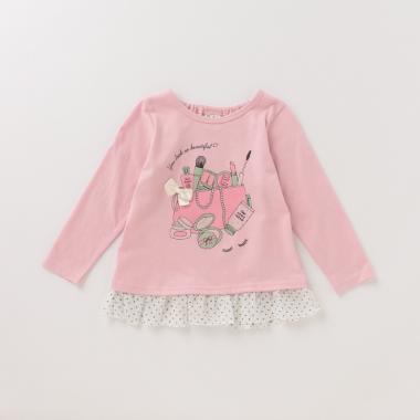 裾ドットシフォンフリルコスメプリントTシャツ