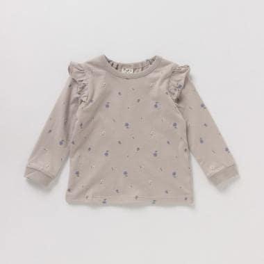 オーガニックコットン 小花柄フリルTシャツ