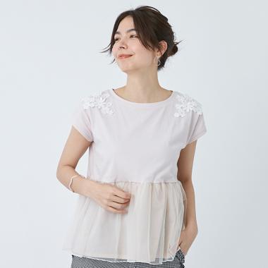 肩花レース裾チュールカットTシャツ