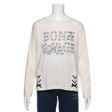 【50%OFF】【オンライン限定商品】ボーダーロゴ入り裾レースアップTシャツ