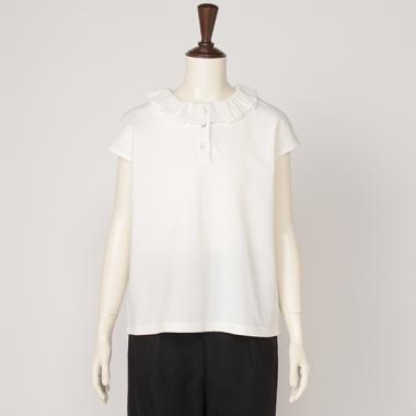 【AMI】フリル衿フレンチスリーブポロシャツ