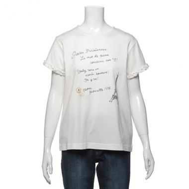 【50%OFF】【キッズサイズ向け】袖口フリルつきロゴ×エッフェル塔プリント入りTシャツ