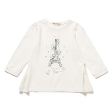 【50%OFF】【キッズサイズ向け】花刺繍入りエッフェル塔Tシャツ