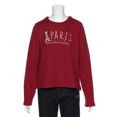 【50%OFF】【トドラーサイズ向け】PARISエッフェル塔アップリケつきTシャツ