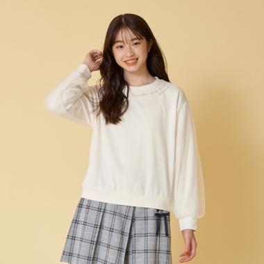 ボリューム袖ロゴ刺しゅうTシャツ_モデル身長:164/商品サイズ:L
