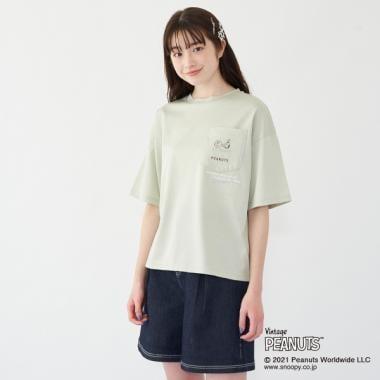【PEANUTS】 【抗菌防臭】 ポケット付半袖Tシャツ