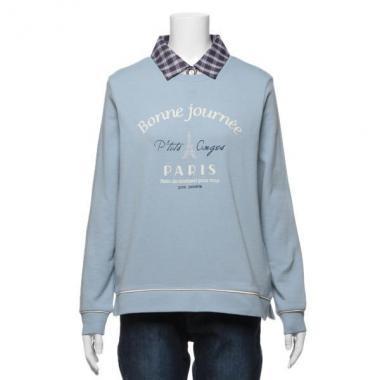 【50%OFF】エッフェル塔ロゴ入りトレーナー×チェック衿つきTシャツセット