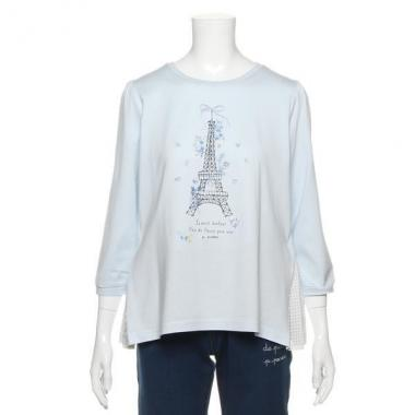 【50%OFF】エッフェル塔デザイン刺しゅう入りTシャツ