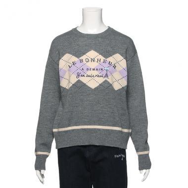 【30%OFF】アーガイルラインセーター