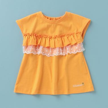 胸フリルレースフレンチスリーブTシャツ