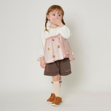 【コロボックルコラボ】 お菓子刺しゅうチュールドッキングチュニック_モデル身長:94/商品サイズ:90