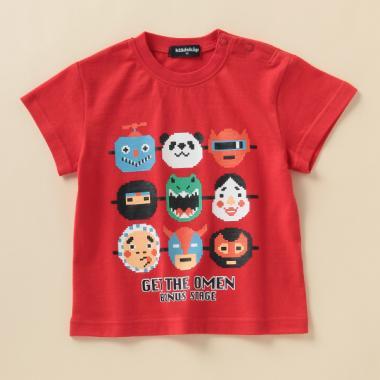 お祭りおめんプリントTシャツ