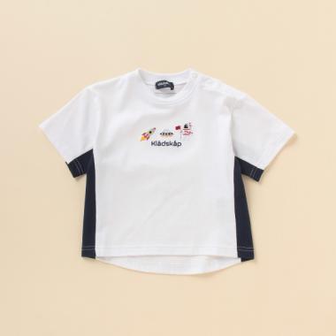 抗菌防臭 宇宙刺しゅうサイドラインTシャツ