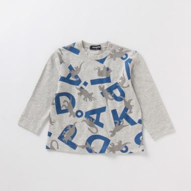 恐竜×アルファベットロゴTシャツ