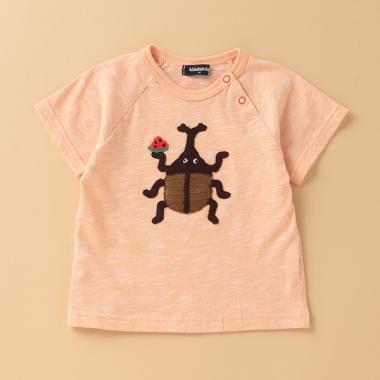 カブトムシ編みモチーフ半袖Tシャツ