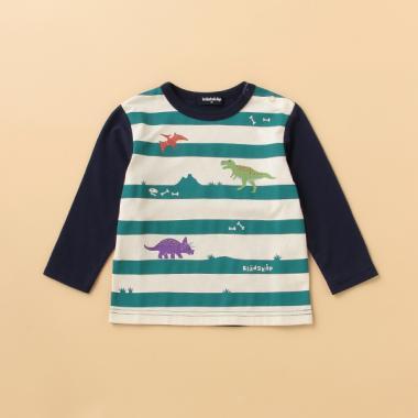 【別注】 恐竜ボーダー袖切り替えTシャツ