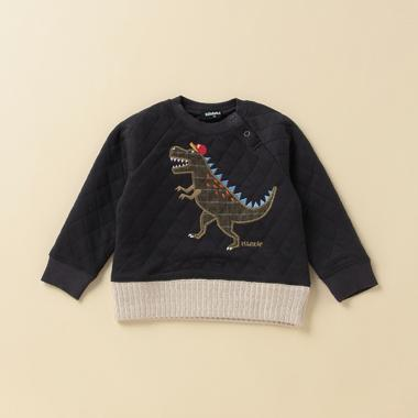 サガラ風恐竜ワッペンキルトトレーナー