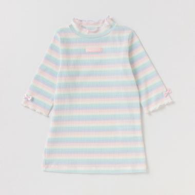 マルチボーダー5分袖Tシャツ