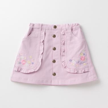 フリルポケット花刺しゅうスカート
