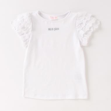 袖フリルレース半袖Tシャツ