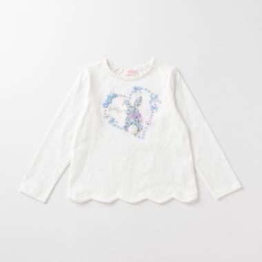 花柄ウサギ裾スカラップTシャツ