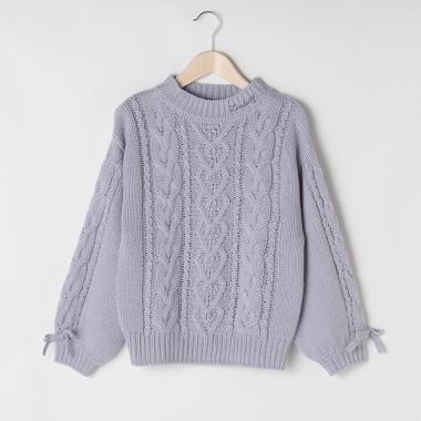 袖リボンケーブルローゲージセーター