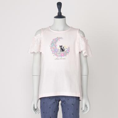 月猫刺しゅう肩開き半袖Tシャツ