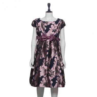 【50%OFF】ウエストリボン花柄ドレス