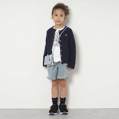 裾フリルネコ刺しゅうショートパンツ