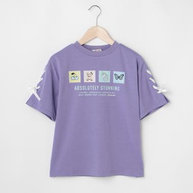 モチーフボックスプリント袖レースアップTシャツ