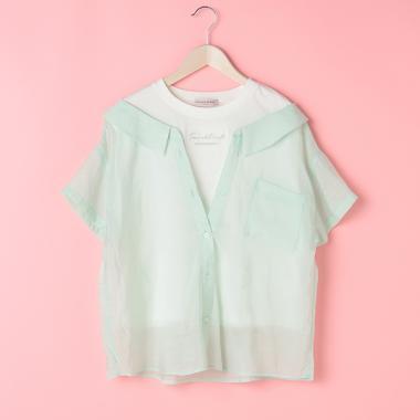 星ボタンレイヤードシアー半袖シャツ