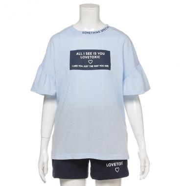 フリル袖ボックスロゴTシャツ×ショートパンツルームウェアセット