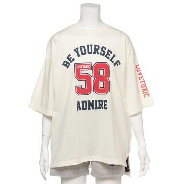 ナンバーロゴTシャツ×サイドラインショートパンツルームウェアセット