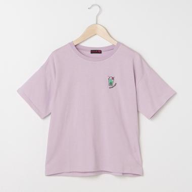 モチーフ刺しゅうゆったりTシャツ