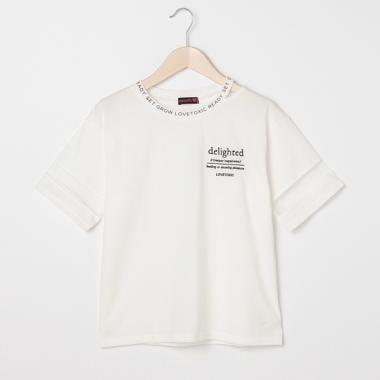 衿スリット袖チュールロゴTシャツ
