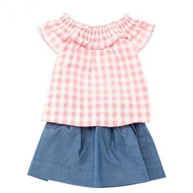 Infant gingham check top and skirt set