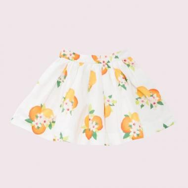 [For Toddler] orange print gathered skirt