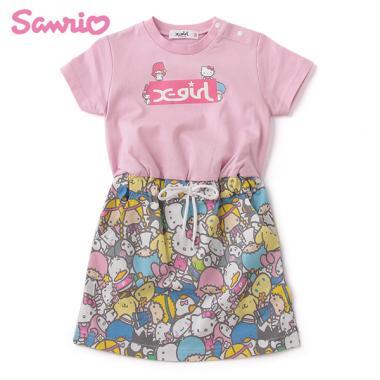 【Sanrio】 ロゴTシャツドッキング総柄ワンピース