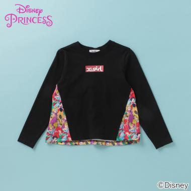 【DISNEY】 PRINCESSデザイン 切り替えロゴTシャツ