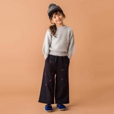 樱桃刺绣宽裤
