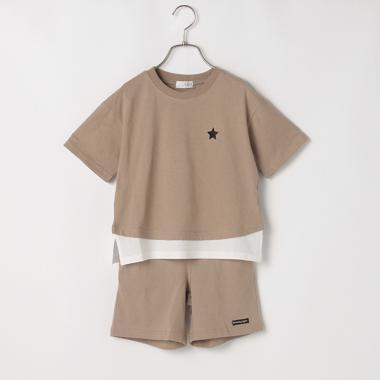 レイヤード風Tシャツ&ハーフパンツセット